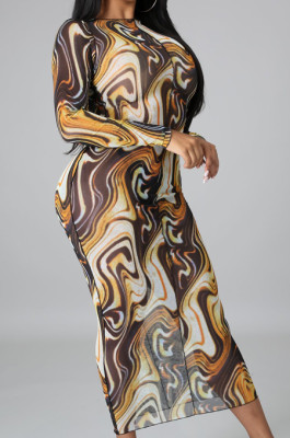 Coffee Sexy High Elastic Mesh Printing Long Sleeve Round Neck Boycon Dress SMR10236-3