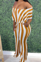 Orange Stripe Print Flounce A Word Shoulder Casual Wide Leg Jumpsuits ZNN9102-4