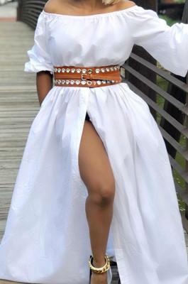 White Summer A Word Shoulder Half Sleeve Solid Color Slit Long Dress L0268-1