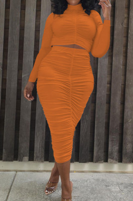 Orange Elastic Ruffle Long Sleeve Half High Neck Blouse High Waist Long Skirts Pure Color Two-Piece YYF8235-4