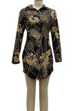 Plaid Pattern Digital Printing Long Sleeve Lapel Neck Single-Breasted Slim Fitting Shirt Dress SMR10186-1