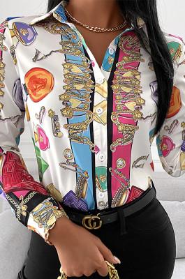 Printed Long Sleeve Shirt Top