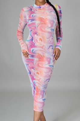 Pine Sexy High Elastic Mesh Printing Long Sleeve Round Neck Boycon Dress SMR10236-1