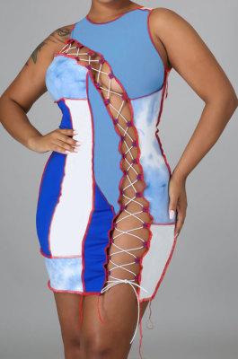 Light Blue Women Trendy Sexy Color Block Spliced Hollow Out Bandage Mini Dress LYY9298