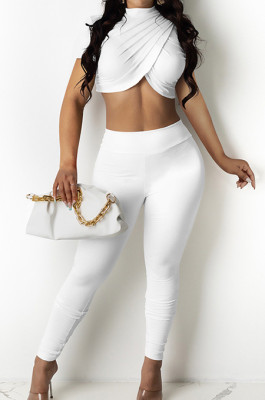 White Personality Pure Color Short Sleeve Rond Neck Crop Top Bodycon Pants Two-Piece DR8093-1