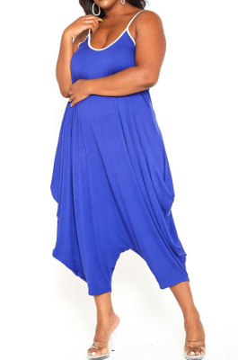 Blue Women Casual Condole Belt Sexy Loose Plus Jumpsuit YBS86718-3