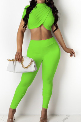 Green Personality Pure Color Short Sleeve Rond Neck Crop Top Bodycon Pants Two-Piece DR8093-5