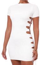 White Women Round Neck Short Sleeve Solid Color Fashion Bandage Tight Mini Dress GB1003-1