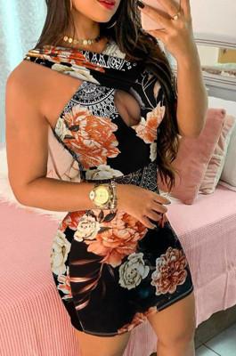 Black Deep V Print Wrap Mini Dress QBE3246