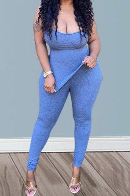 Blue Women Pure Color Strapless Blouse Split Pants Sets BYQ1002