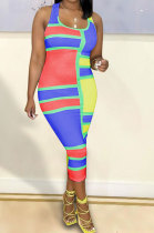 Red Sexy Women Multicolor Spliced Printing Sleeveless Long Dress AYQ06004-2