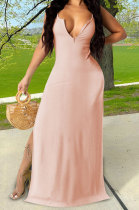 Pink Red Euramerican Women Sexy Zipper Low Bosom Lower Hem Split Long Dress AYQ06002-3