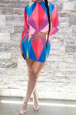 Purple Trendy Multicolor Long Sleeve Bodycon Round Neck Mid Waist Mini Dress DLS03274-1