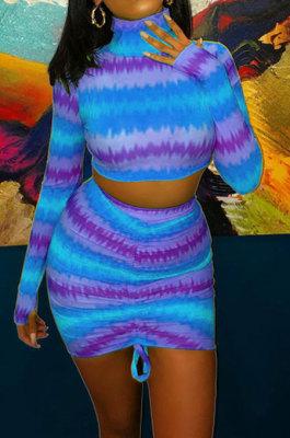 Blue Women Multicolor Pattern Long Sleeve High Neck Ruffle Skirts Sets MOL112-3