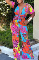 Printing Fashion Vintage Short Sleeve Loose Casual Wide Leg Jumpsuits BYQ1011