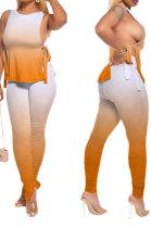 Orange Women Casual Sleeveless Tied Gradual Change Pants Sets AYQ8003-2