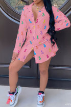 Pink Women Casual Chiffon Long Sleeve Shirts AYQ8031-3