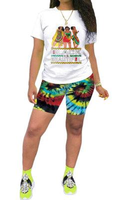 Black Casual Printing Short Sleeve Shorts Sets AYQ5139-3