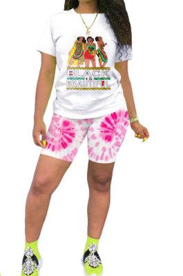 Pink Casual Printing Short Sleeve Shorts Sets AYQ5139-1