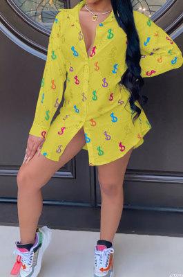 Yellow Women Casual Chiffon Long Sleeve Shirts AYQ8031-4