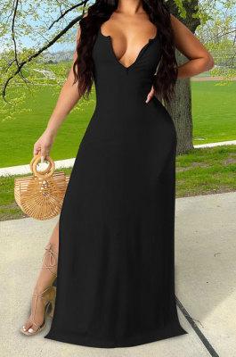 Black Euramerican Women Sexy Zipper Low Bosom Lower Hem Split Long Dress AYQ06002-2