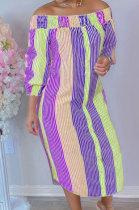 Purple Euramerican Women Sexty Fashion A Word Shoulder Irregular Multicolor Long Sleeve Midi Dress K2151-2