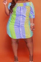 Orange Sexy Fashion Short Sleeve A Word Shoulder Irregular Multicolor Plus Mini Dress K2149-3