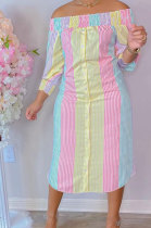 Pink Yellow Euramerican Women Sexty Fashion A Word Shoulder Irregular Multicolor Long Sleeve Midi DressK2151-1
