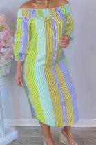 Orange Euramerican Women Sexty Fashion A Word Shoulder Irregular Multicolor Long Sleeve Midi Dress K2151-3