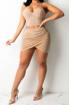 Apricot Fashion Sexy Condole Belt Hot Drilling Deep V Neck SlimFitting Irregular Skirts Sets K2148-2