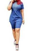Blue Euramerican Women Jeans Casual Trendy Shorts Sets MR200