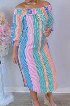Pink Green Euramerican Women Sexty Fashion A Word Shoulder Irregular Multicolor Long Sleeve Midi Dress K2151-4