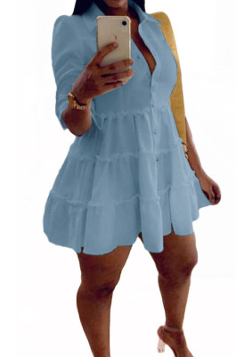 Sky Blue Casual Solid Color Long Sleeve Lapel Neck Single-Breasted Shirt Dress OMY0022-6