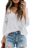 Grey New Lece Hook Flower Embroidered Hollow Out Horn Sleeve V Neck Loose Shirts MDO1740-2