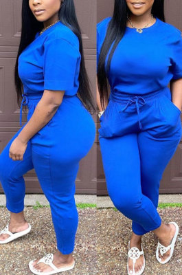 Euramerican Women Solid Color Long Pants Tied Short Sleeve Casual Pants Sets WDS210501