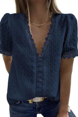 Navy Blue Chiffon Pure Color Jacpuard Short Sleeve V Neck Loose Fashion Blouse MDO9986-4