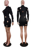 Gray Cotton Blend Sexy Hollow Out Long Sleeve O Collar Bodycon Solid Color Hip Mini Dress WY6834-1