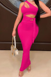 Rose Red Euramerican Women Condole Blet Dew Waist Backless Bandage Pure Color Long Dress CY1324-3