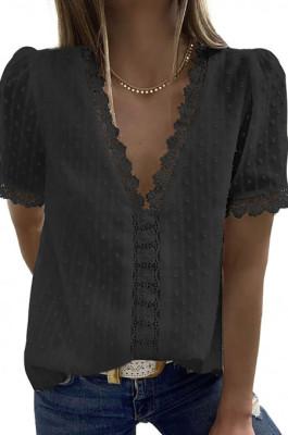 Black Chiffon Pure Color Jacpuard Short Sleeve V Neck Loose Fashion Blouse MDO9986-2