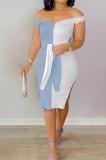 Light Blue Ribber Spliced V Neck Bandge Sexy Slit Slim Fitting Can Leak Shoulder Midi Dfess YM209-1