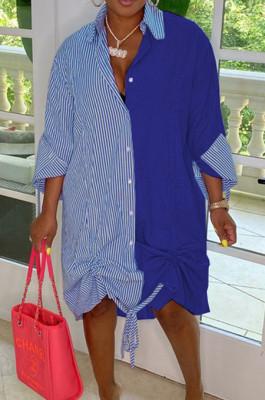 Blue Casual Women Stripe Spliced Long Sleeve Lapel Neck Single-Breasted Loose Shirt Dress WY6839-2