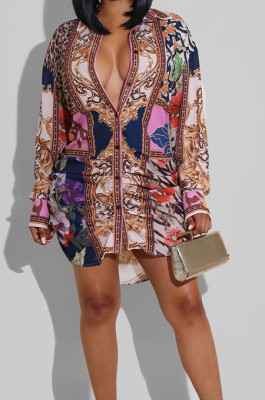 Colorful New Women Printing Long Sleeve Lapel Collar Single-Breasted Irregularity Shirt Dress QY5081-2