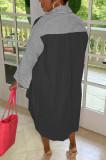 Pink Casual Women Stripe Spliced Long Sleeve Lapel Neck Single-Breasted Loose Shirt Dress WY6839-1