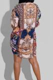 Blue New Women Printing Long Sleeve Lapel Collar Single-Breasted Irregularity Shirt Dress QY5081-1