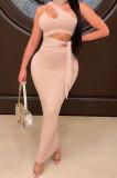 Nude Euramerican Women Condole Blet Dew Waist Backless Bandage Pure Color Long Dress CY1324-5
