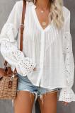 Black Summer Chiffon Horn Sleeve V Collar Single-Breasted Loose Solid Colur Shirts MDO001-2