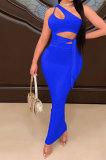 Black Euramerican Women Condole Blet Dew Waist Backless Bandage Pure Color Long Dress CY1324-2