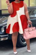 Red Sexy Women Sleeveless Loose Round Neck Club Plus Mini Dress K8961-1