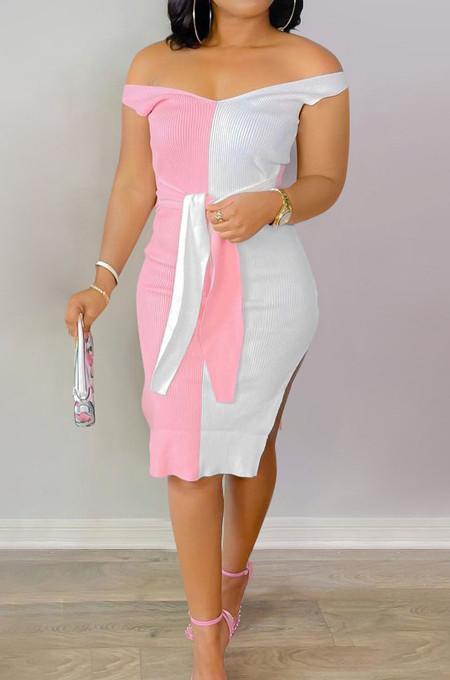 Pink Red Ribber Spliced V Neck Bandge Sexy Slit Slim Fitting Can Leak Shoulder Midi Dfess YM209-3