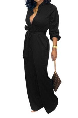 Black Euramerican Women Sexy Pure Color Long Sleeve Tied Casual jumpsuits LD8602-3